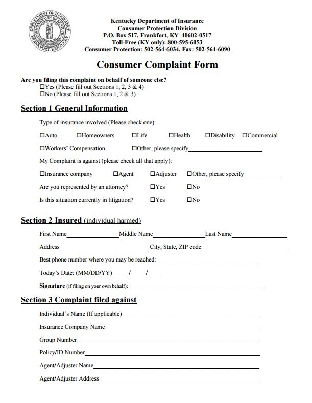 112 best Commissioners Complaint Form By State images on Pinterest - sample consumer complaint form