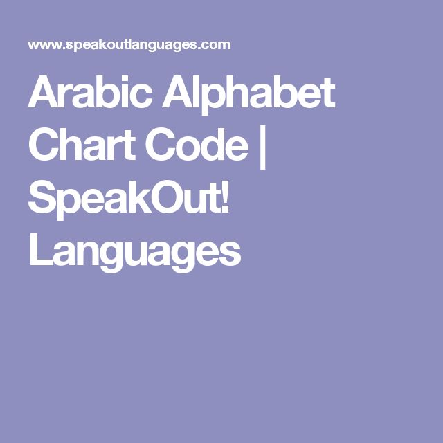 Arabic Alphabet Chart Code | SpeakOut! Languages