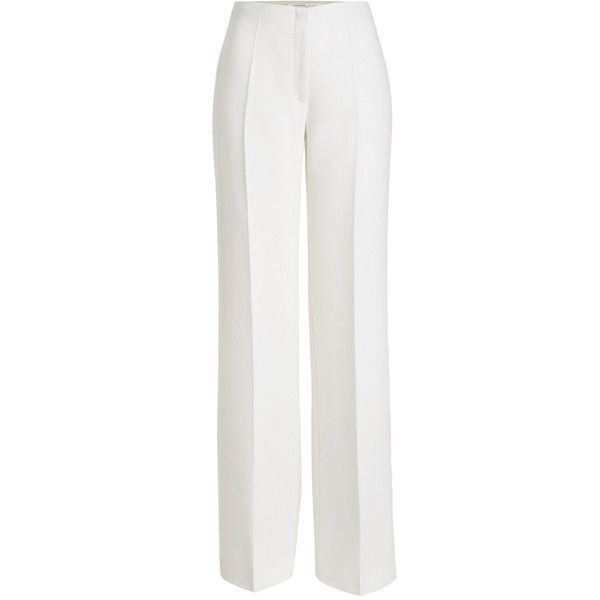 Agnona Wool Wide-Leg Trousers ($725) ❤ liked on Polyvore featuring pants, white, white wool pants, white cropped trousers, white wide leg trousers, wool pants and agnona