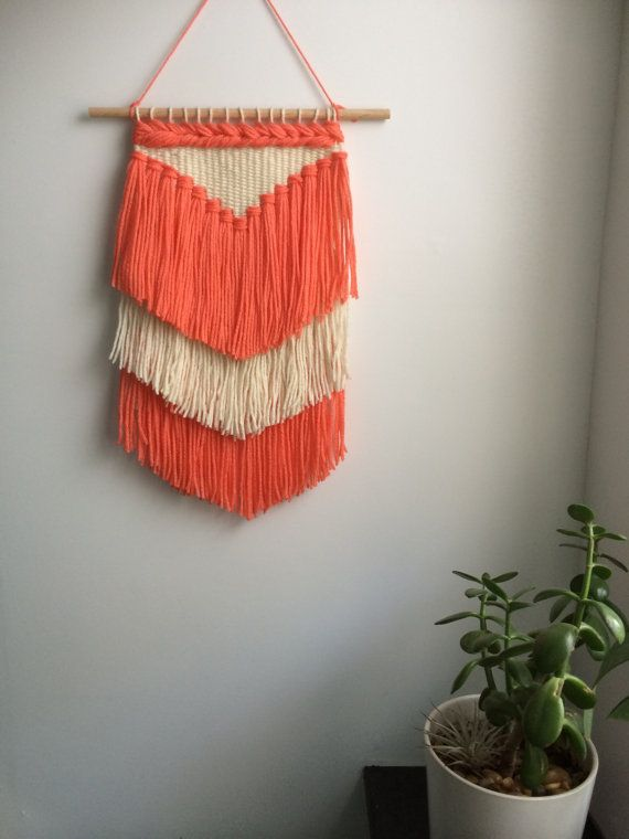 Melon Fringed Woven Wall Hanging by AlexWeaves on Etsy