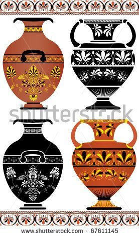 Stock Vector Set Of Greek Vases Colored Image And Cliche