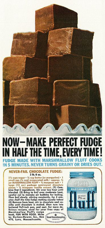 1962 Food Ad, Marshmallow Fluff with Never-Fail Chocolate Fudge Recipe | by classic_film