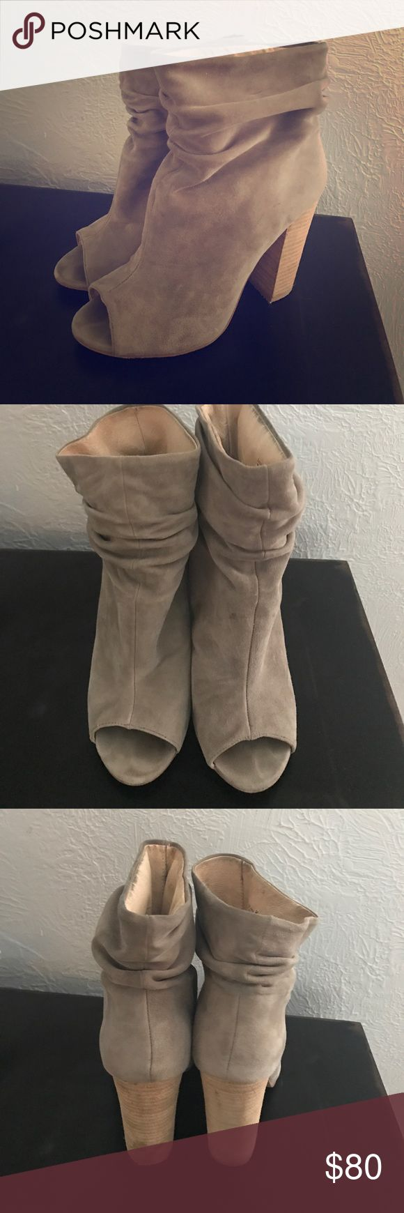 Kristin Cavalari Laurel Slouch Bootie Cute booties in grey suede, can wear with jeans or a dress. Barely worn, only a few times. Chinese Laundry Shoes Ankle Boots & Booties