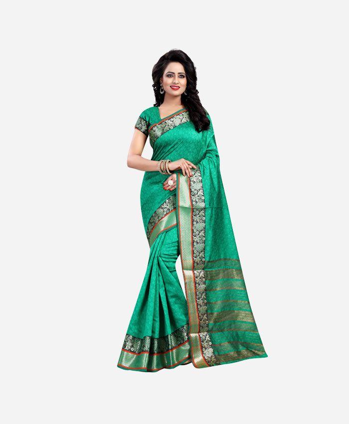 Fancy Cotton Silk Sarees - Shop Latest Collection of Designer Green cotton silk sarees, Sari online in USA, Canada, UK & India.