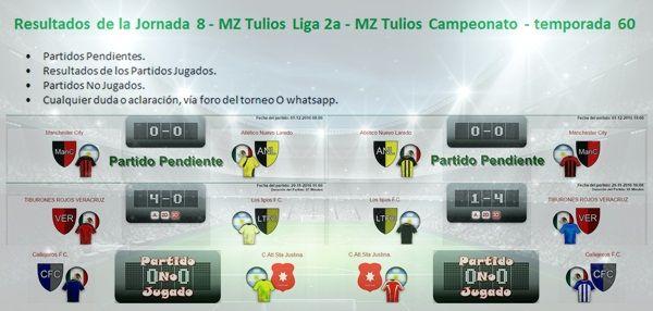Resultados Jornada 8 - MZ Tulios Liga 2a t60