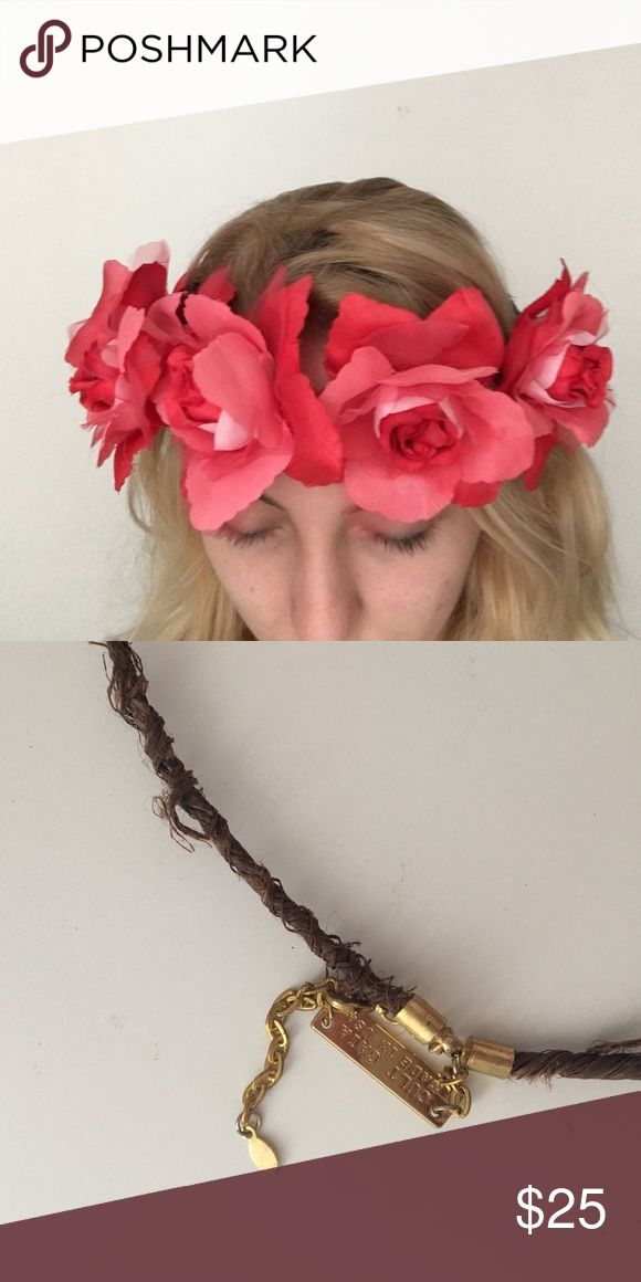 Cult Gaia Red Flower Crown Gently worn. Purchased new from Nasty Gal. Has some fraying, pictured in second photo. Very beautiful for spring! Nasty Gal Accessories
