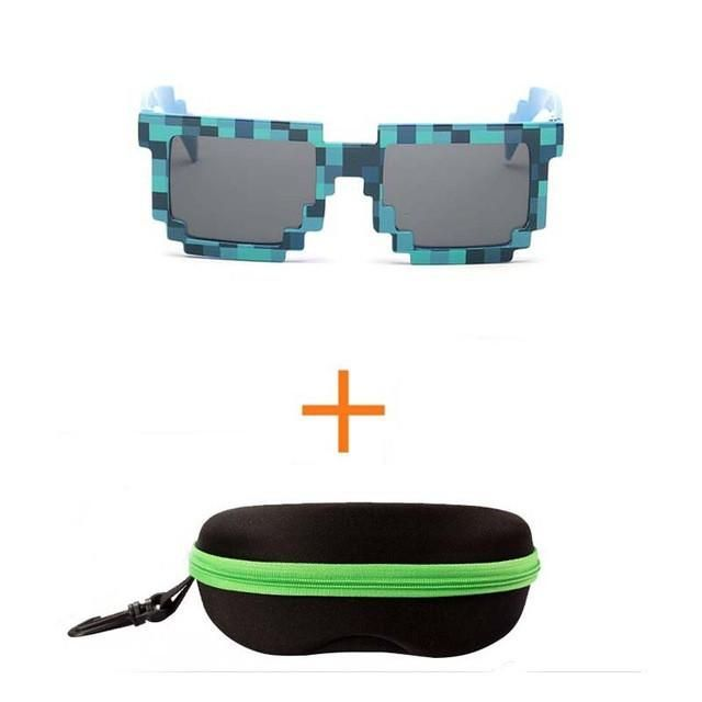 2pcs/lot Fashion Minecraft Sunglasses Kids cos play action Game Toys Square Glasses with EVA case gifts (4 color)