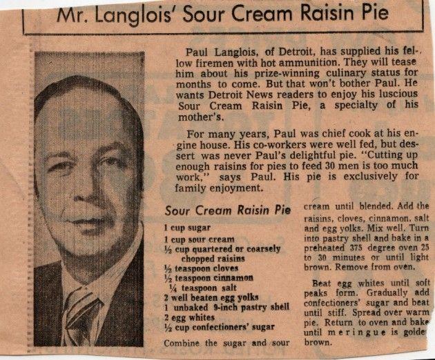 Sour Cream Raisin Pie via Mid Century Menu