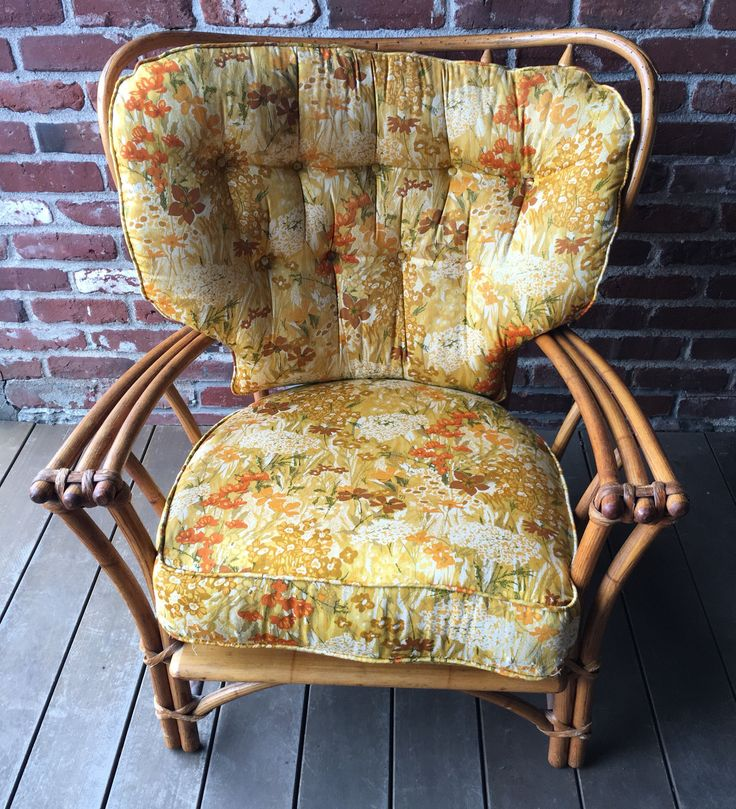 Excited to share the latest addition to my #etsy shop: Large 1960s Heywood Wakefield Company Chicago Bamboo Lounge Chair with Floral Cushions