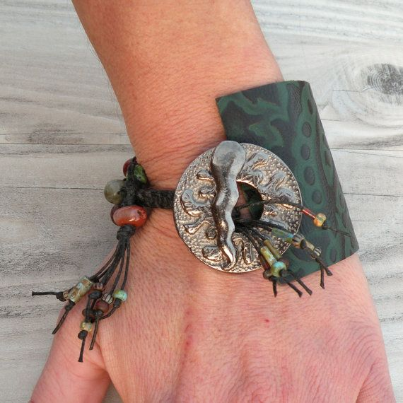 Beaded Leather Cuff  Ecofriendly Bracelet in Green and Black