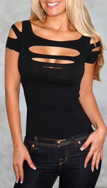 Sexy Camicia a maniche corte nera Top ritaglio Rave Goth Punk - Fashion Tops | RebelsMarket