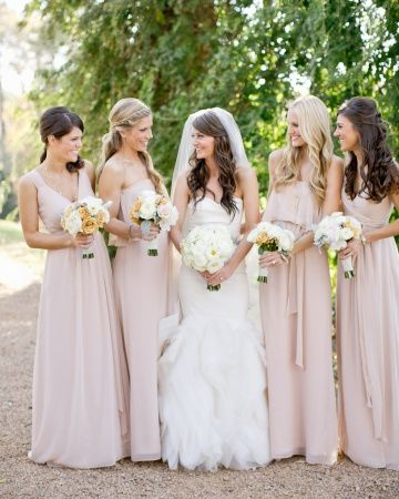 Love these soft pink floor-length Joanna August gowns for #bridesmaids #sparklingeverafter