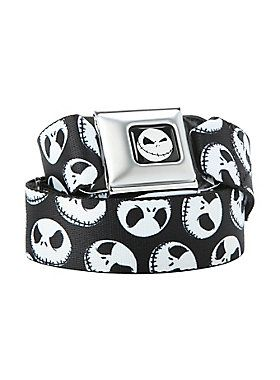 Buckle-Down brand seat belt belt with <i>The Nightmare Before Christmas</i> themed design and an authentic automotive style seat belt buckle.