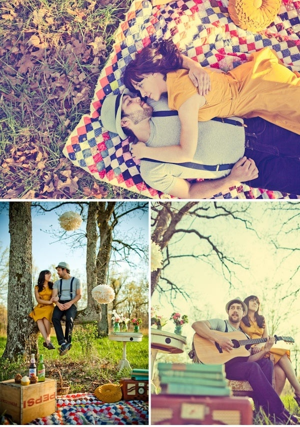 Really liking the picnic idea. Love this, minus the old-timey outfits :)