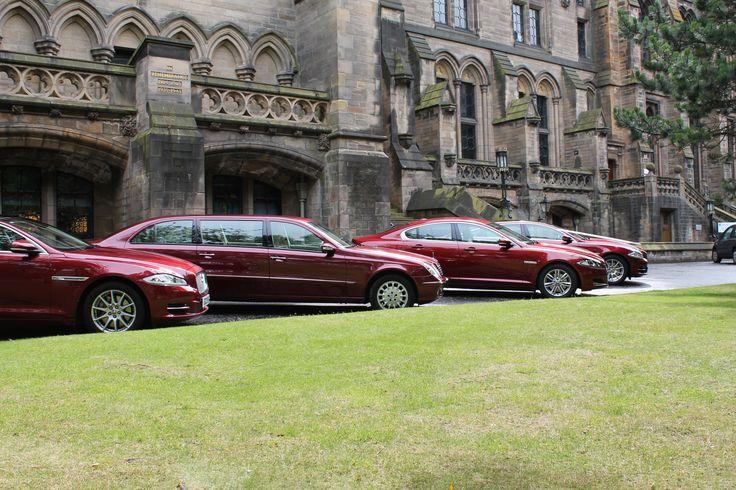 University of Glasgow wedding with 3 Jaguar XJLs and a Mercedes Limousine,