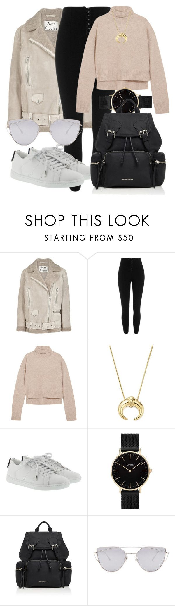 """""""Untitled #4900"""" by beatrizvilar on Polyvore featuring Acne Studios, River Island, Rejina Pyo, Bloomingdale's, Yves Saint Laurent, CLUSE, Burberry and Gentle Monster"""