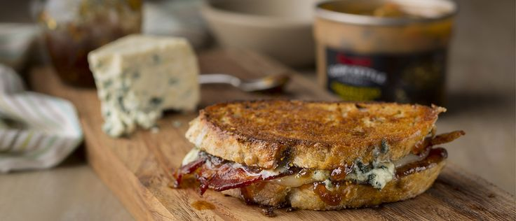"""This is one of those """"you've got to taste it to believe it"""" sandwiches to know how good it really is. Sweet fig jam is complemented by smoky bacon and sharp blue cheese and held all together with perfectly melted provolone. Pairing it with Campbell's® Slow Kettle®Mediterranean Vegetable Soup with Kale and Orzo brings it one step closer to perfection."""