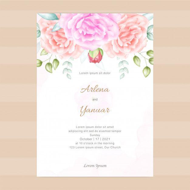 Vintage Wedding Invitation With Floral Vintage Wedding Invitations Wedding Invitations Beautiful Wedding Invitations