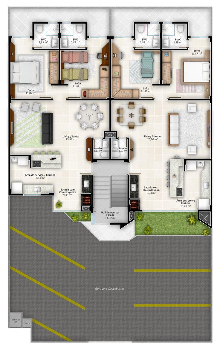 Pinterest: @claudiagabg | Edificio 4 pisos 8 apartamentos 2 cuartos