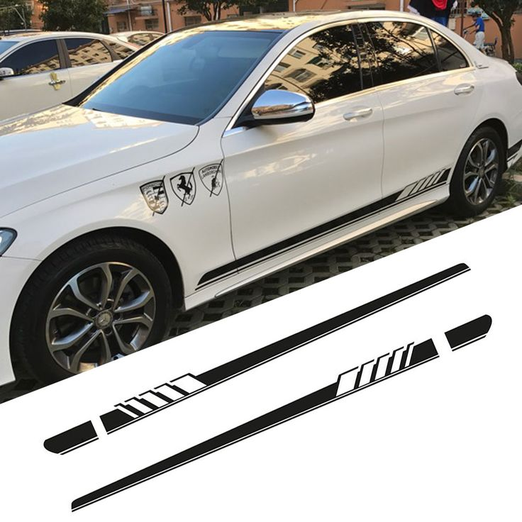 Brillante Negro-Edición 1 Faldón Lateral Racing Stripes Sticker Decal para Mercedes Benz Clase C AMG W205(China (Mainland))
