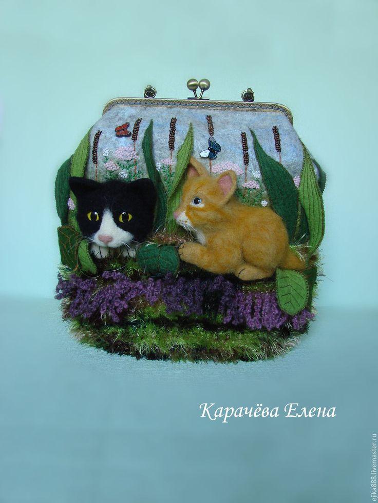 """Купить Сумка """"В поисках кота"""" - разноцветный, рисунок, кот, коты, котята, сумка из войлока"""