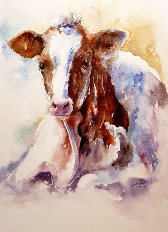 Spotty Stella - Full-frontal image, unframed // Original Watercolor by Arti Chauhan