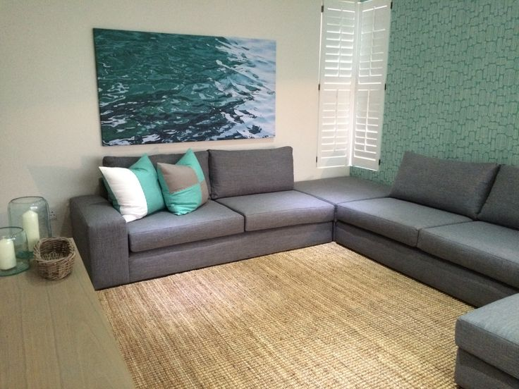 aqua and grey kids tv lounge - lots of floor space for games - I love this image of water and how it compliments the wallpaper I chose