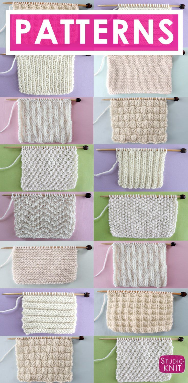 Knit and Purl Stitch Patterns with Free Patterns and Video Tutorials in the Absolute Beginning Knitter Series by Studio Knit via @StudioKnit