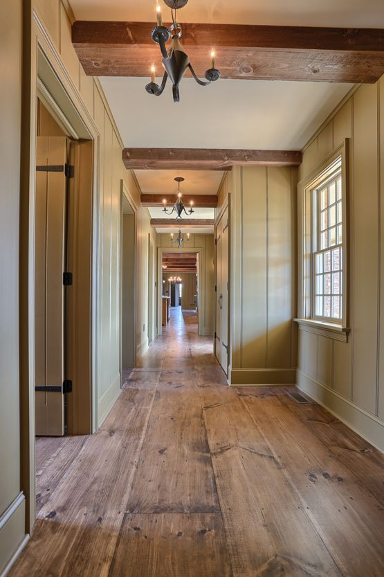 Wide Plank Wood Flooring Interior Hallway Classic Colonial Homes Architecture