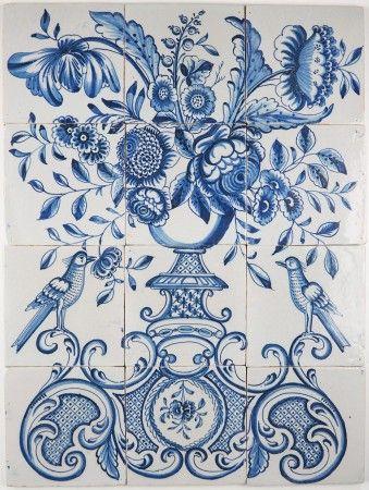 Portuguese Traditional Azulejos Tiles Panel Mural Delft Blue Flowers Vase The Latest Fashion Tiles Architectural & Garden