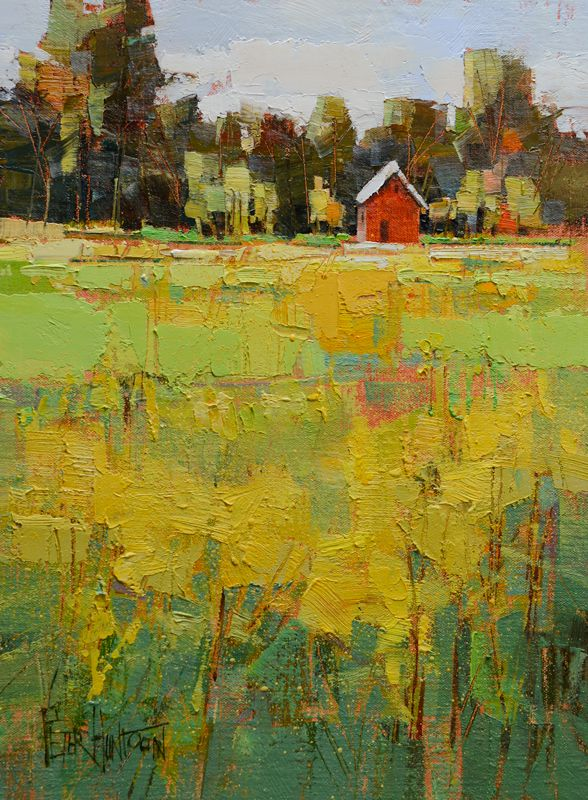 Artist Peter Huntoon says:  A vibrant meadow of Goldenrod along Route 30 in Dorset is bathed in the glow of an afternoon sun. This painting was done earlier this week, and we couldn't ask for better weather. Vermont days like these are savored indeed. I used a nice warm under-painting followed by enthusiastic palette knife work to create the organic textures.