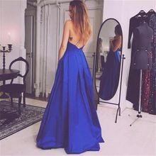 2016 Königsblau Sexy Backless Abendkleid V-ausschnitt A-linie Bodenlangen Abendkleid Vestidos De Fiesta Robe De Soiree //Price: $US $124.10 & FREE Shipping //     #eveningdresses