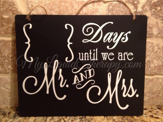 Wedding Countdown 8x10 Wedding Mr and Mrs Hanging by LiquidTherapy