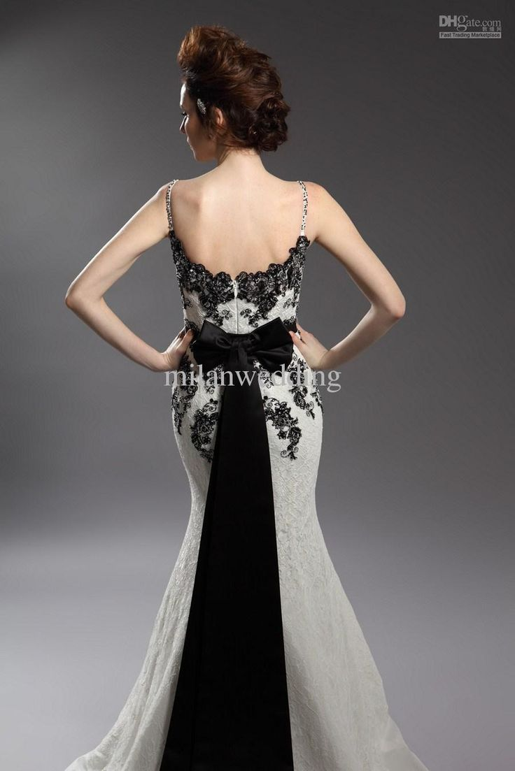 Black And White Wedding Dresses Combination Embroidered Dress Lace