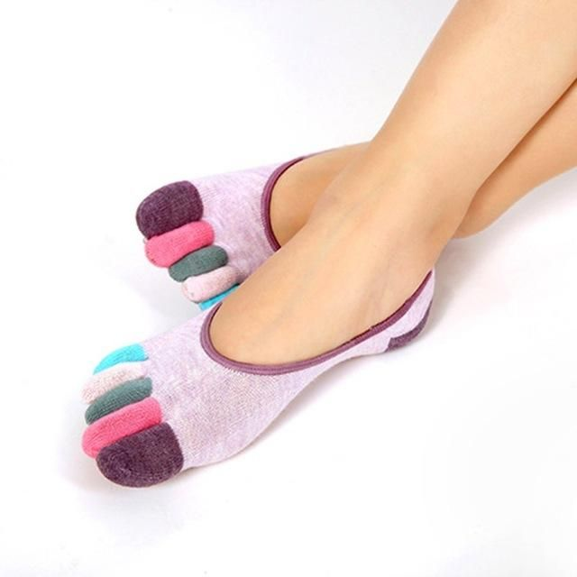 Women Ankle Socks Non Slip Calcetines Ciclismo Fitness Dance Exercise Five Fingers Socks