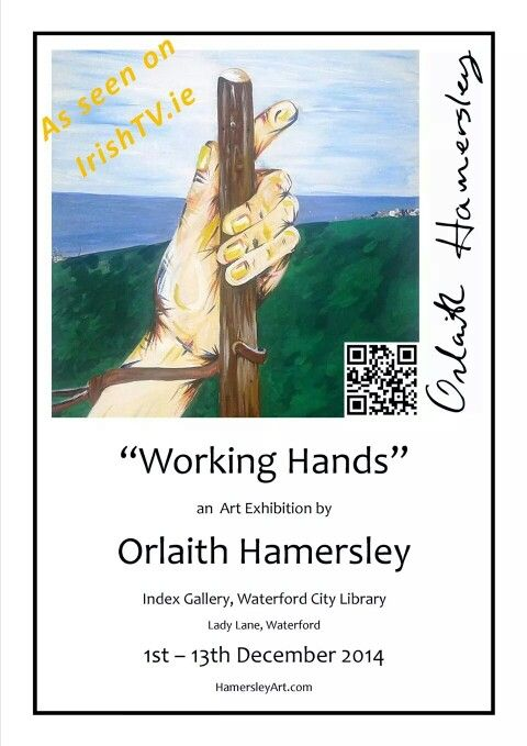 """The Index Gallery, Waterford City Library will be the next venue for Orlaith Hamersley's """"Working Hands"""" exhibition this December.  The exhibition includes acrylic paintings and detailed pencil drawings depicting the artist's hands at work, Orlaith's paintings are bright and bold, in contrast to the mechanical monochromatic nature of her pencil art.   """"After working as a draughtsman for many years, I settled in Bunmahon on the Copper Coast, County Waterford. Inspired by my surroundings, I…"""