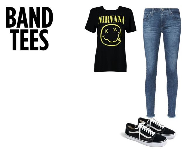 """""""BAND TEES"""" by coconutlady-573 on Polyvore featuring Boohoo, AG Adriano Goldschmied, J.Crew, nirvana and bandtees"""