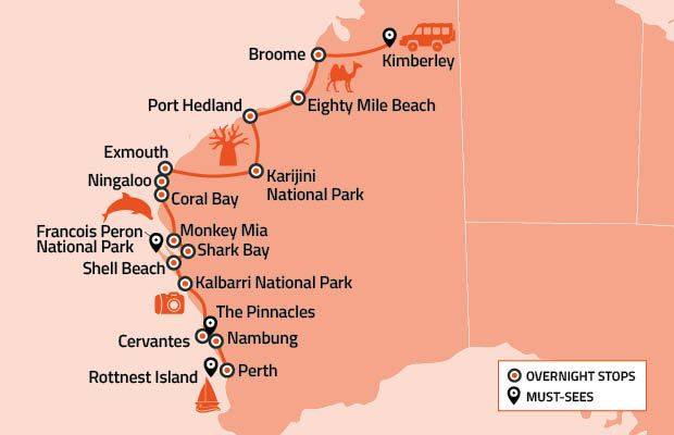 Australia West Coast Map.Au West Coast Roadmap 620x400 In 2019 2018 Perth West Coast Road
