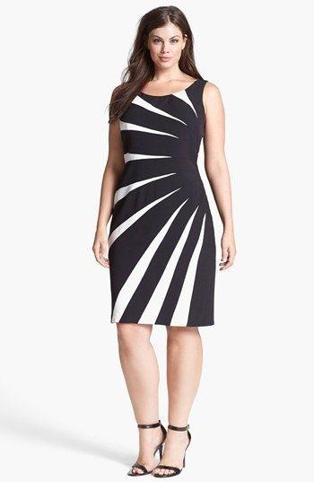 Adrianna Papell Colorblock Side Burst Sheath Dress (Plus Size)