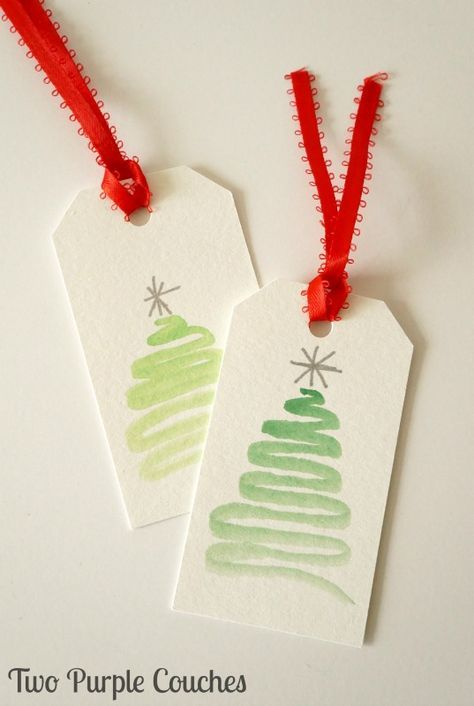 Super cute (and easy!) holiday gift tag idea - paint abstract trees with watercolors!