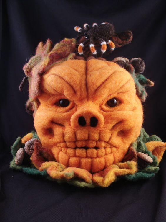 Needle Felted Pumpkin Jack O Lantern Skull by McBrideHouse on Etsy, $195.00 ~ I'm new to needle felting & this find is incredible!!! ~ I'm a Halloween junkie & in love with this piece!: