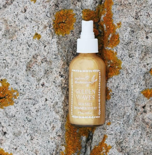 Our original Mermaid Sea Salt Hair Spray gets golden! It's our same classic organic formula but with added natural gold mica for beautiful gold shimmer.