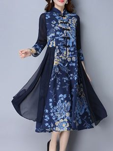 Buy Casual Lotus Printed Two-Piece Maxi Dress online with cheap prices and discover fashion Maxi Dresses at Fashionmia.com.