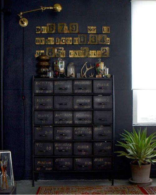 #industrial #letters #metal #cabinet #dark #black #stencils #lamp ... freakin rock star !