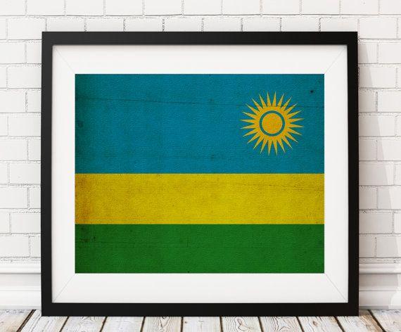 Rwanda Flag Art- https://www.etsy.com/listing/495206997/rwanda-flag-art-rwanda-flag-print-flag?ref=shop_home_active_2 Rwanda Flag Print, Flag Poster, African Gifts