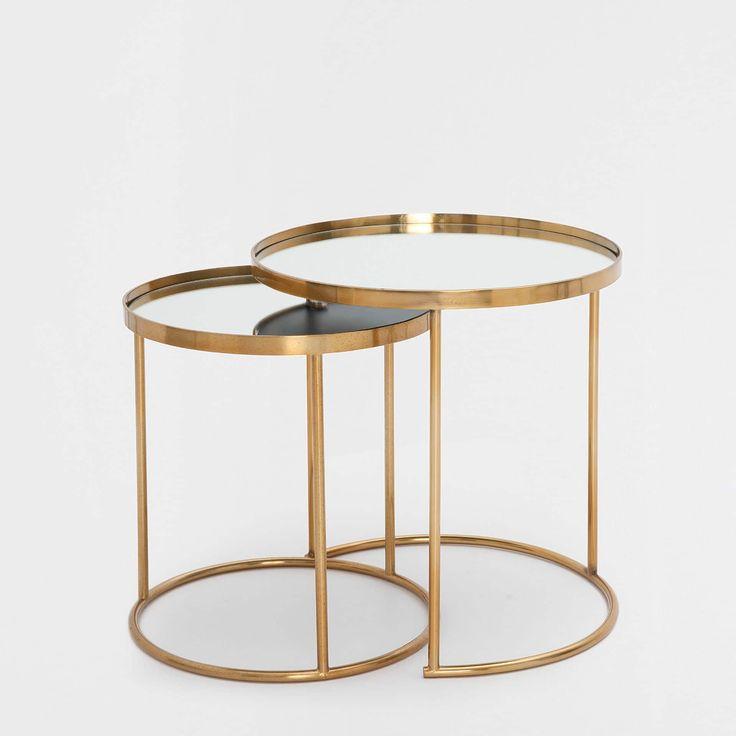 Bild 2 des Produktes Runde unterschiebbare Tische in Gold 2er Set   Furniture spot, Zara home ...