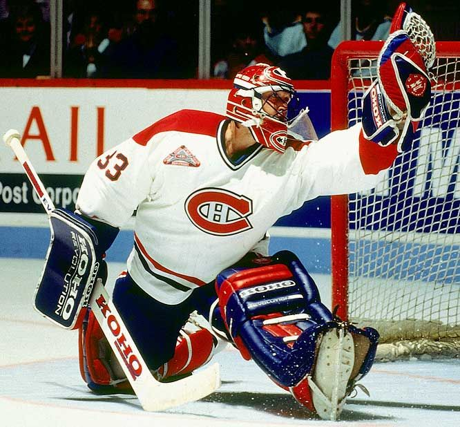"Montreal Canadiens G Patrick Roy doing what ""Patrick Roy"" does best."