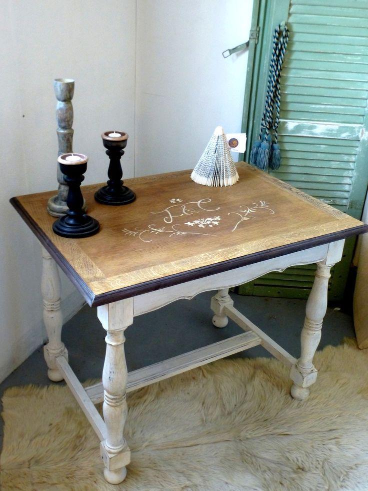 Table / coiffeuse cérusée blanc style shabby chic : Meubles et rangements par…