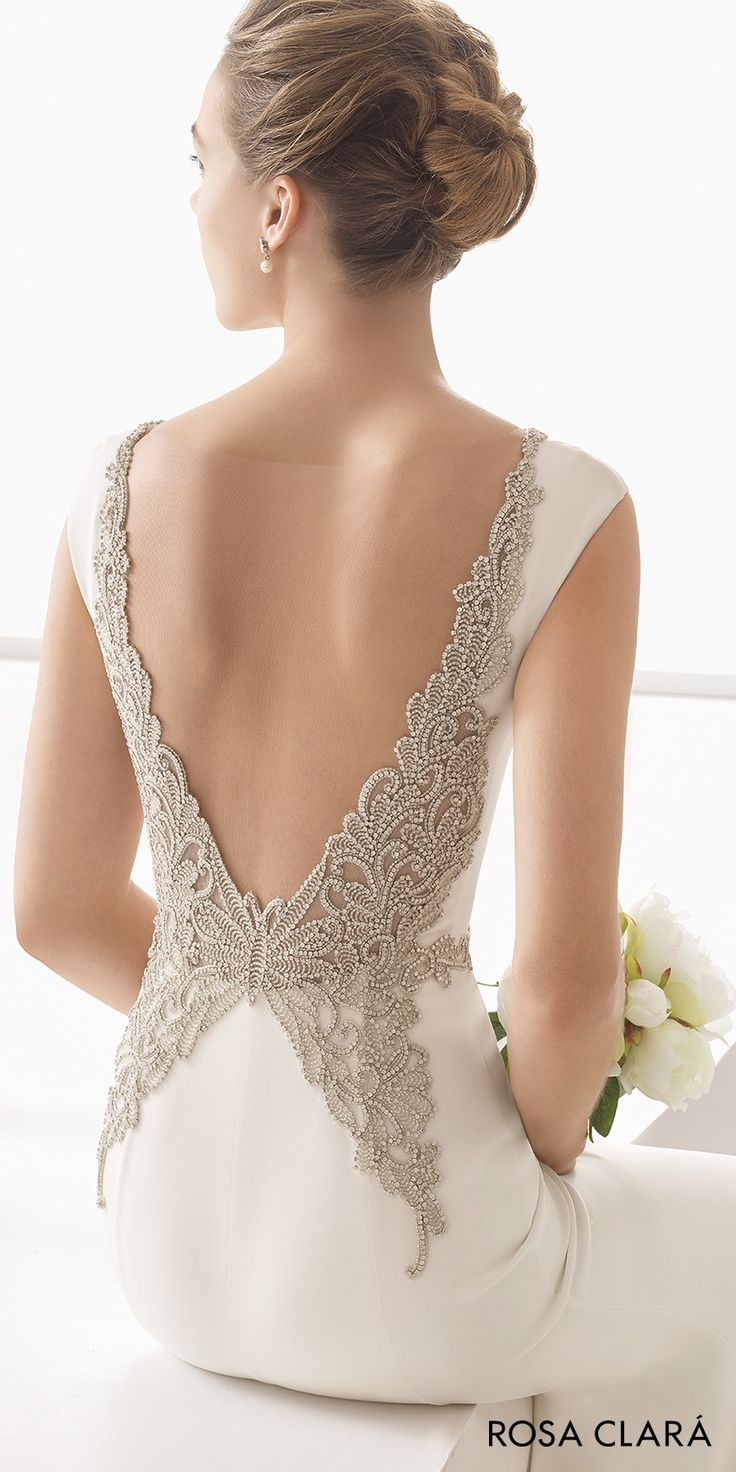 rosa clara 2017 bridal cap sleeves bateau neck simple clean elegant sheath wedding dress open low back chapel train (naima) mv zbv