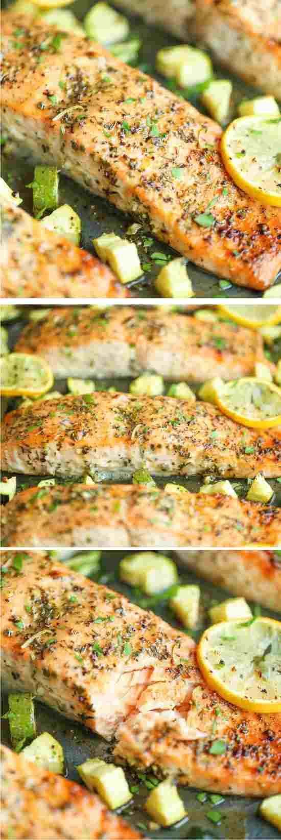 LEMON HERB SALMON AND ZUCCHINI - blackpepper, healthy, herbal, lemon, mustard, recipes, rosemary, salmon, zucchini